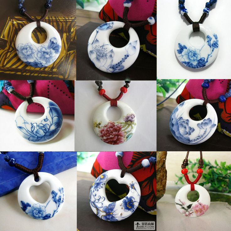 Free Shipping blue and white ceramic sweater necklace pendant vintage jewelry fashion accessories $7.91
