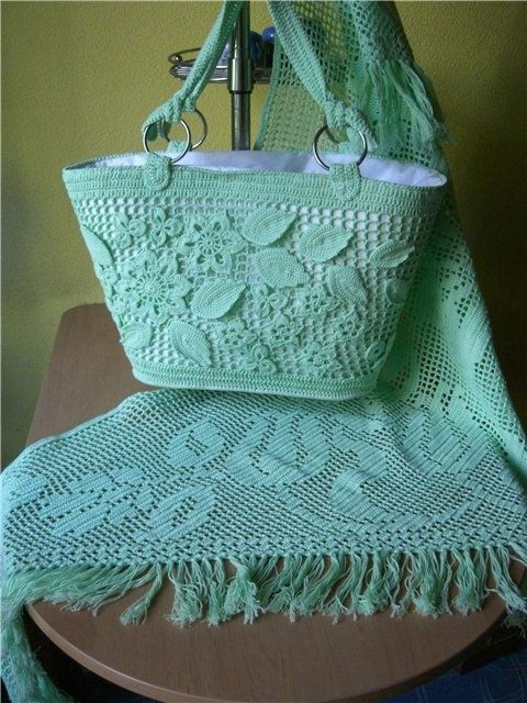 filet crochet shawl and purse