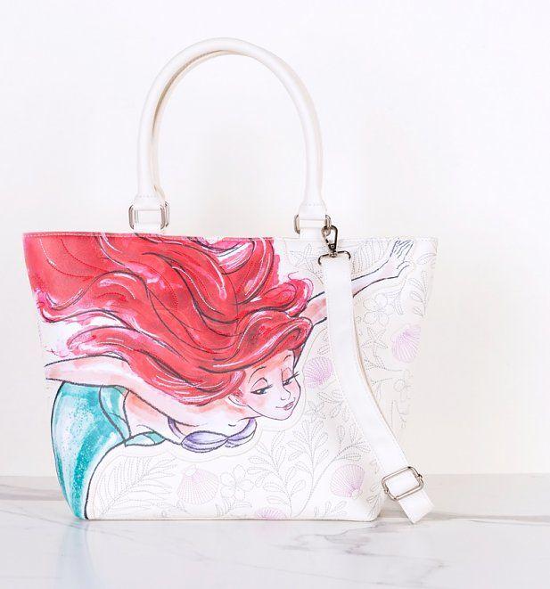 LOUNGEFLY Disney The Little Mermaid Sketch Watercolor Satchel Purse NEW ARIEL