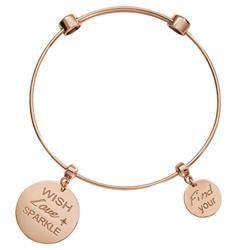 'Wish. Love. Sparkle' Rose Gold Nikki Lissoni Bangle