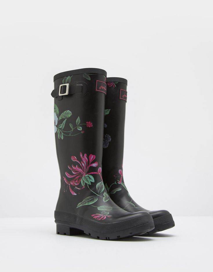 Printed Black Hedgerow Wellies | Joules UK