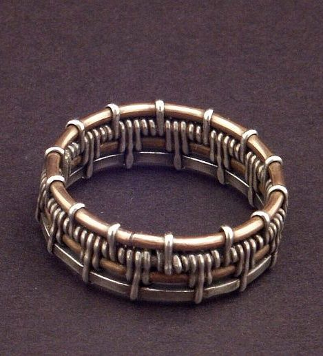 Ring | Mary Tucker.  Bronze and Sterling woven. - mens country jewelry, mens rose gold jewelry, cyber monday mens jewelry