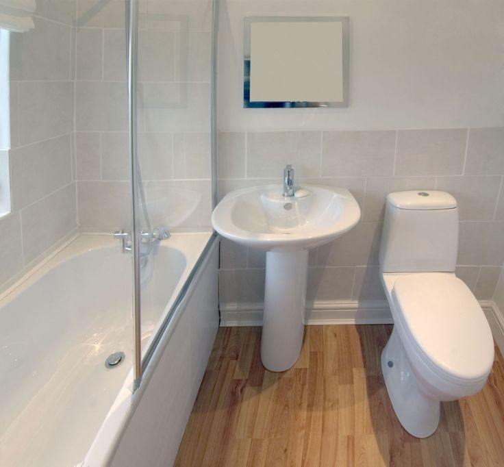 cost of tile for bathroom floor%0A Oak Wooden Laminate Floor not ceramic in this Bathroom photo   CHEAP  looking