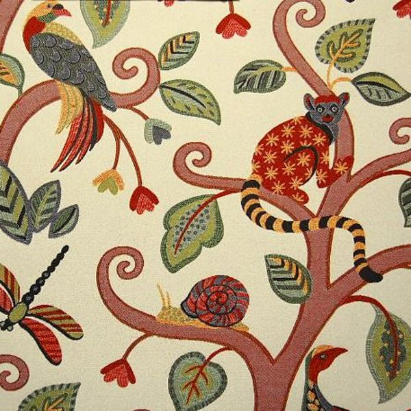 Marakay #338 Jungle Red Woven Floral Monkey Upholstery Fabric By Braemore    SW51548   Fabric