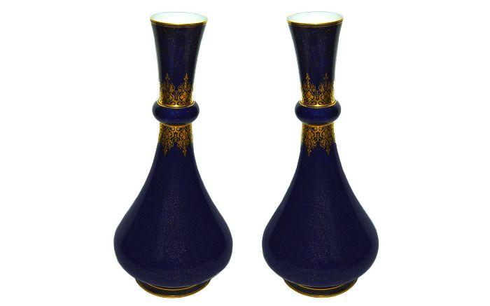 A Pair of Sévres Porcelain Vases France c. 1868 Sleek sapphire-blue vase with gold speckled glaze finishand gilt decoration at the rim, neck, and base. - Jonnys Antiques LTD