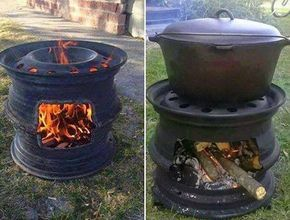 DIY Fire Pit with Car Wheel