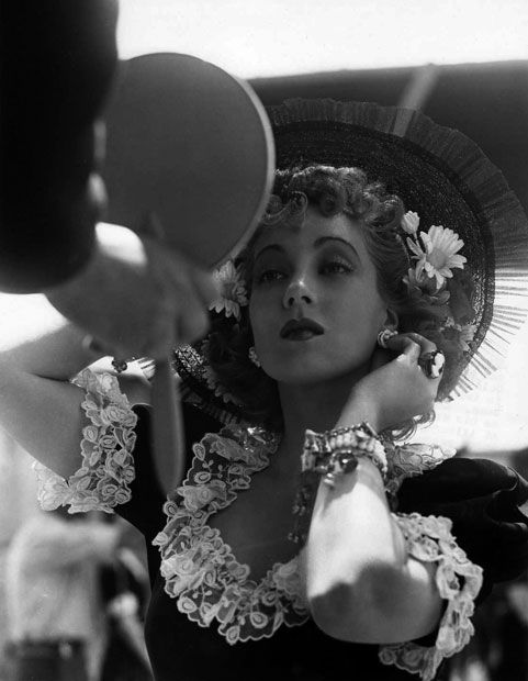 "Ann Sothern between takes of ""Gold Rush Maisie"""