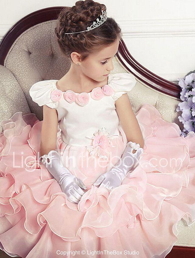 vestido de la muchacha de flor de la longitud del té del vestido de bola - cuello sin mangas de la joya del algodón con la flor por ydn 2017 - €17.63