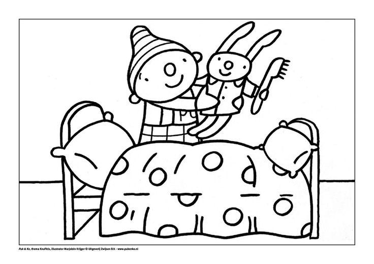 kleurplaat puk met knuffel knuffel thema activiteiten
