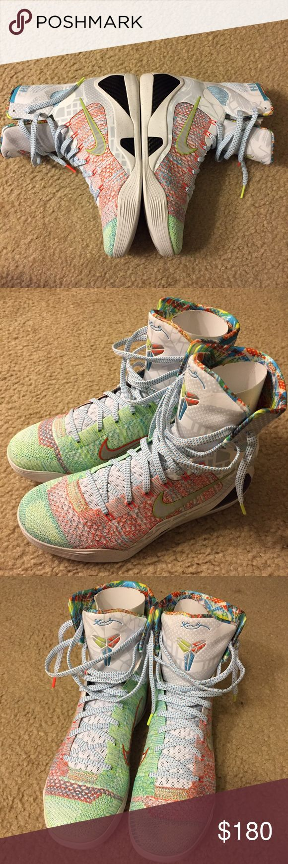 Kobe 9 what the Kobe premium Kobe shoes. WTK Kobe 9 what the Kobe. 99.8% new only wear for 2 times!!! Almost qual brand new. No broke for bottom and surface at all!! Size us9/eu42.5. The pictures you see is the thing you will get. Nike Shoes Sneakers