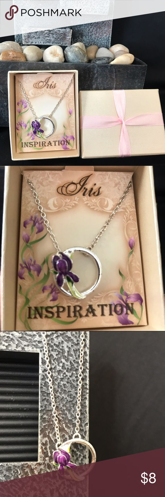 """Avon Iris Inspiration Pendant Necklace NIB Avon Iris Inspiration pendant necklace, 16"""" silvertone chain with 3"""" extender. The iris pendant is 3/4"""" long. Iris is the February birth flower, as well as the state flower of Tennessee! Give the gift of Iris Inspiration! Comes in a box suitable for gift giving, as shown in the first photo. Avon Jewelry Necklaces"""