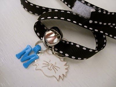 Personalized cat collars (with velcro) for Kitty Cat Party   http://justdaisydreaming.blogspot.com