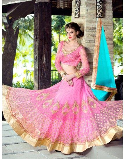 Light Pink Net Lehenga Choli with Resham Embroidery Work