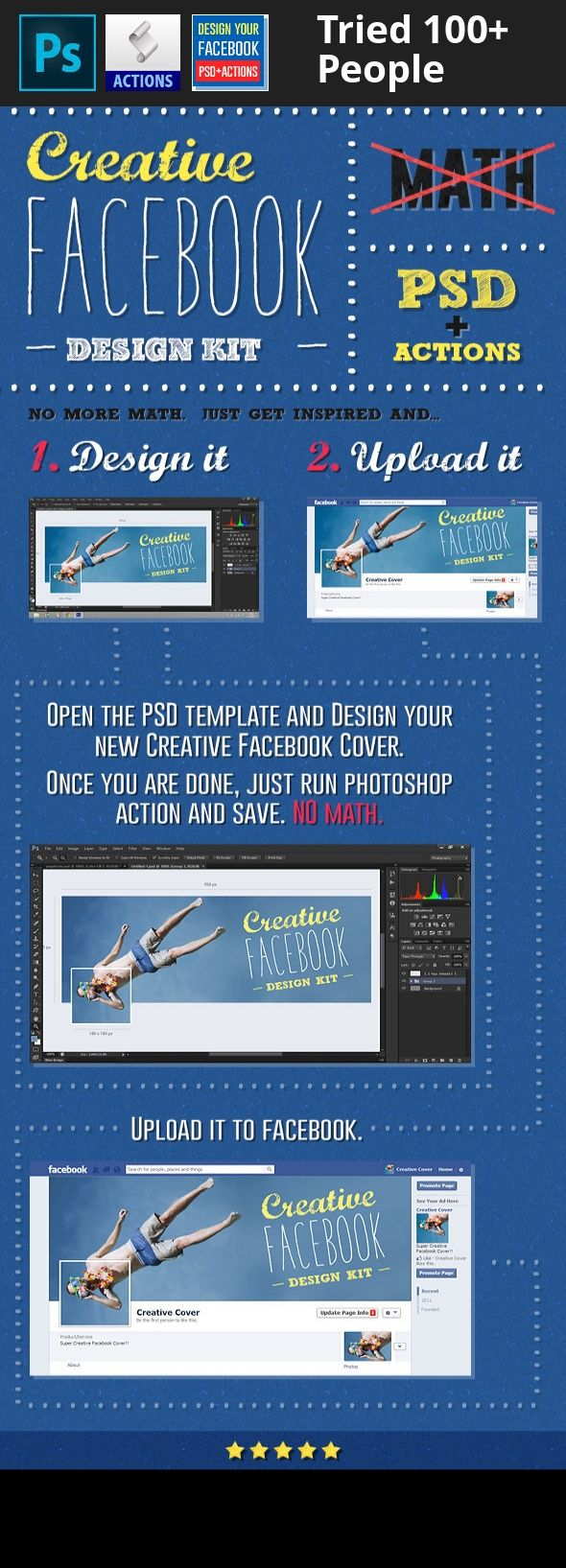 action, cover, creative, facebook, photoshop, psd Design creative Facebook cover for your profile or page easily. It can be a little tricky to combine profile picture and cover image into creative artwork… You know what I am talking about if you ever tried.   This file makes the process as easy as possible. You just open premade .psd and do some design. When your artwork is ready, just play photoshop action to save images and upload them to Facebook. No math, images are automagicly sized...