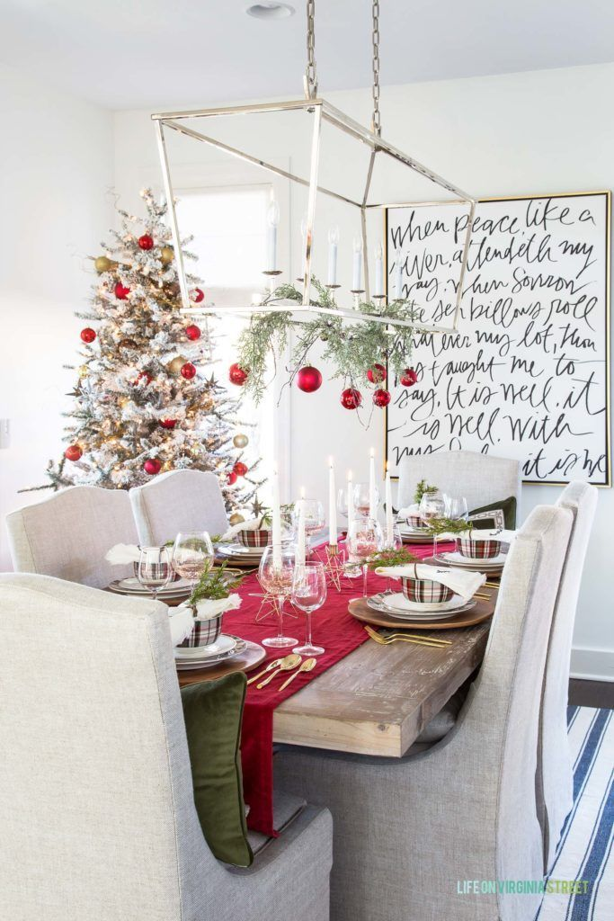 red plaid christmas tablescape christmas decor holiday ideas rh pinterest com