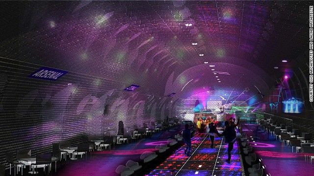 A proper underground scene? An artists impression of a nightclub in the Arsenal metro station in Paris.