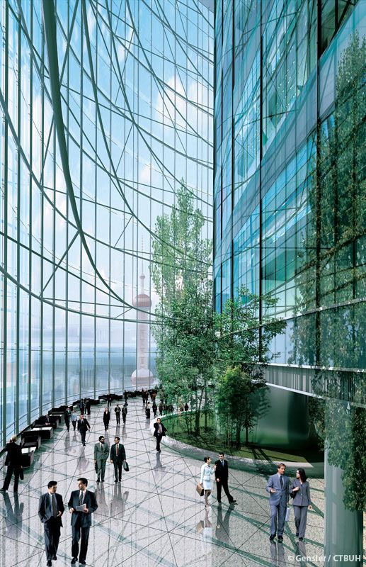 Futuristic Architecture, Shanghai Tower by Gensler. Sky lobbies with exposed structure and green