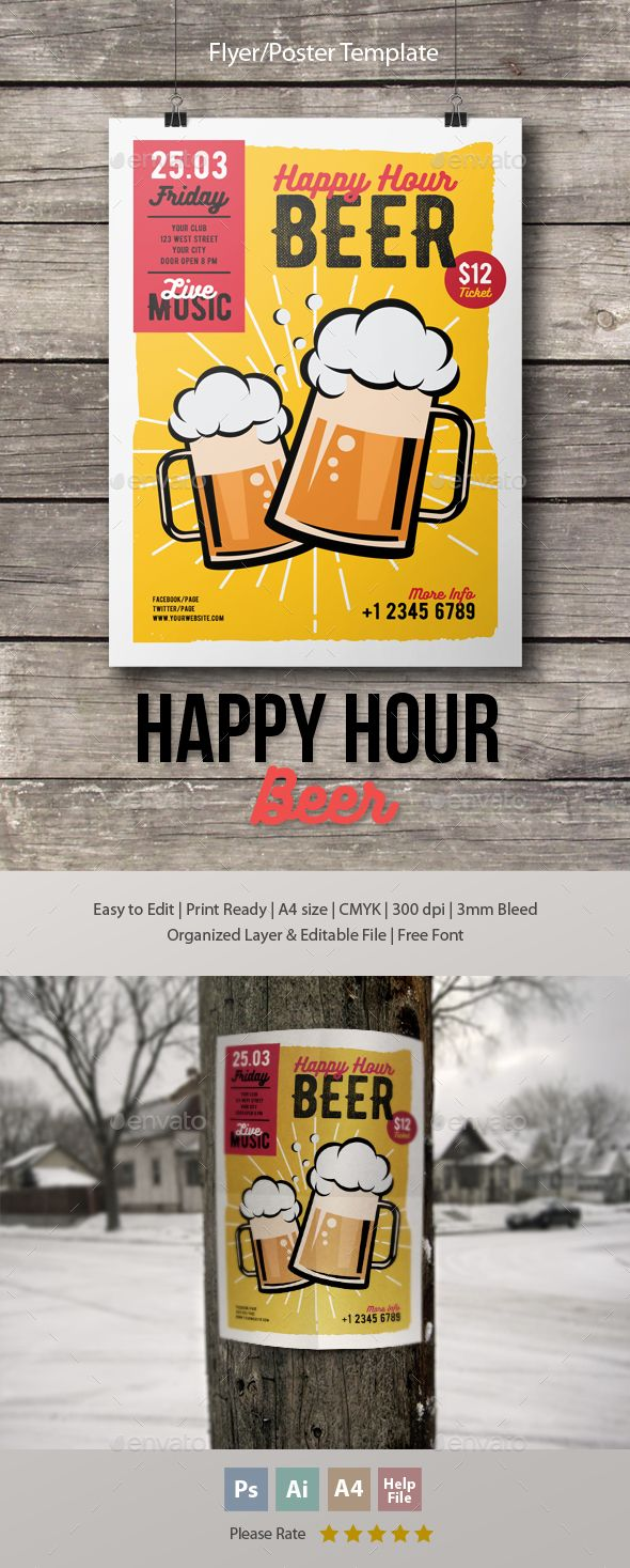 Happy Hour Beer Flyer-Poster Template PSD, Vector AI. Download here: http://graphicriver.net/item/happy-hour-beer-flyerposter-template/15994510?ref=ksioks