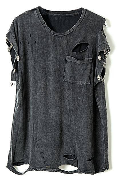 Studed Distressed Letters Claw Print T-shirt - Fashion Clothing, Latest Street Fashion At Abaday.com