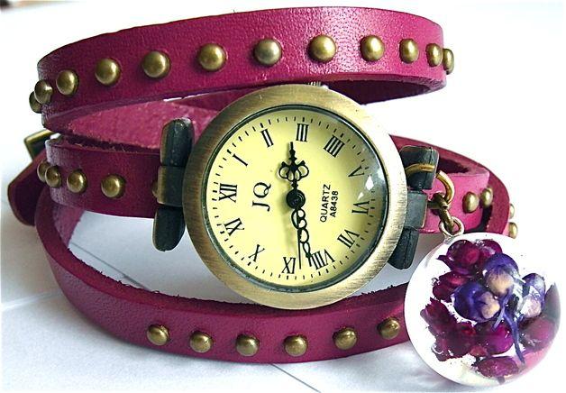 Zegarek z fioletowymi kwiatuszkami - Grol-jewellery - Zegarki