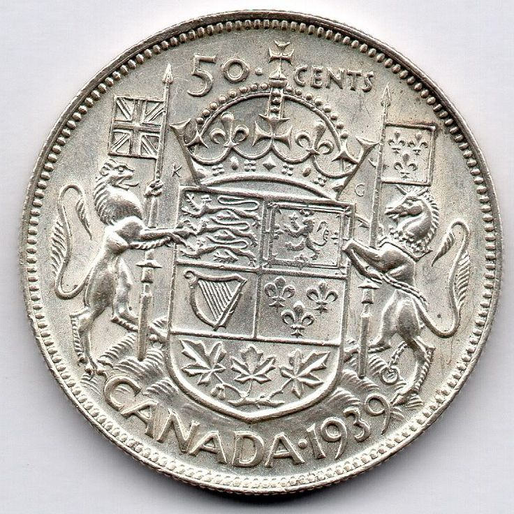 Canada 50 Cent 1939 (Half Dollar) (80.0% Silver) Coin  Price : $28.00  Ends on : 4 weeks Order Now