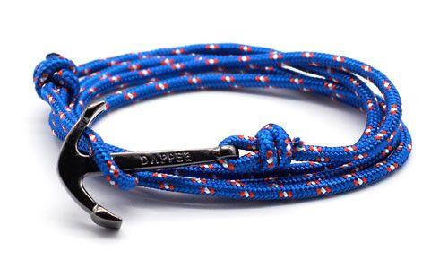 men's royal blue rope bracelet with black anchor - The Art