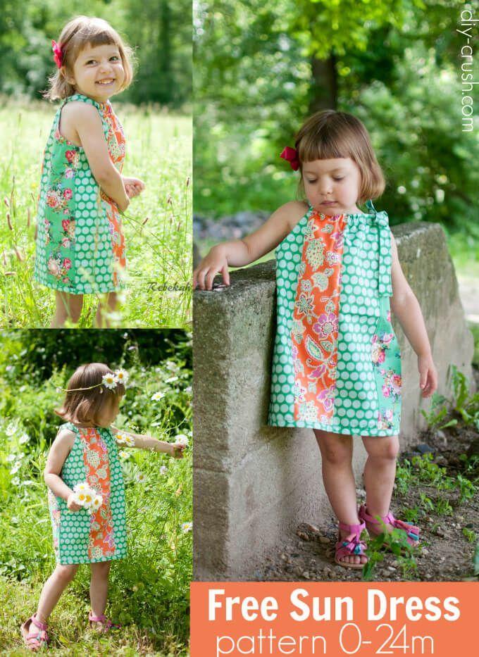 Free Sun Dress pattern newborn through 24 months | DIY Crush