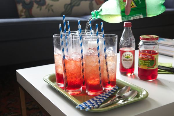 Shirley Temples! Non alcoholic drinks with sprite and cherry flavoring! Going to make tomorrow for Meredith and Morgan's eighth grade dance!