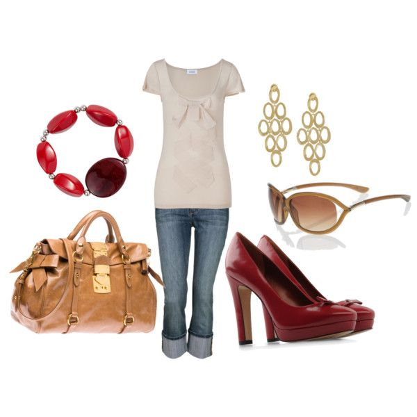 Red and CreamFashion, Red, Cream Averbeek, Clothing, Cream Cut Tops, Cream Httpbitlyhqvjna, Polyvore, Cream Http Bit Ly Hqvjna, My Style