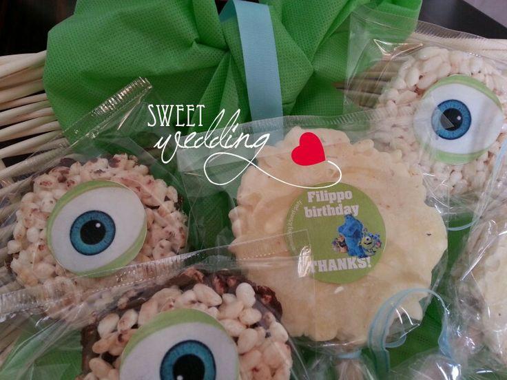 Gadget per bimbi sul tema party Monster University organizzata da Sweet Party. Ogni festa di compleanno con un gadget diverso.