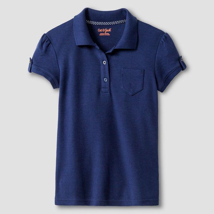 Girls' Interlock Polo Shirt - Cat & Jack, Girl's, Size: Small, Nightfall Blue