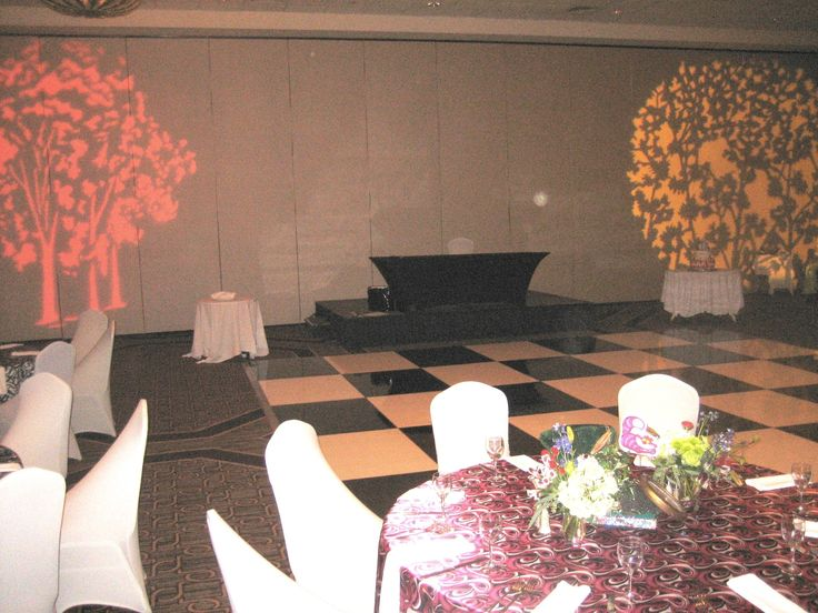 Specialty lighting, dance floor rental and coordinating linens all contribute to the room aesthetic and define the theme.