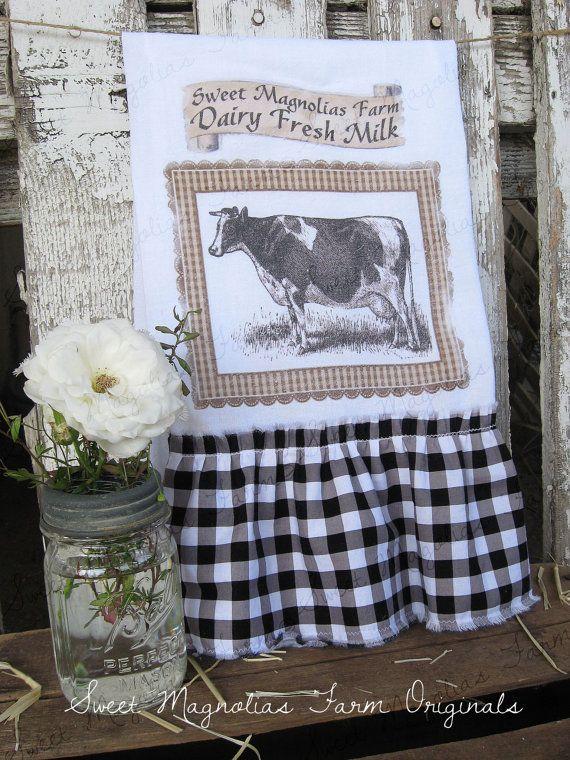 Flour Sack Kitchentowel Farmhouse Style Country Cottage Chic Ruffle Cow Dairy Fresh Milk Sweet Magnolias Farm Via Etsy