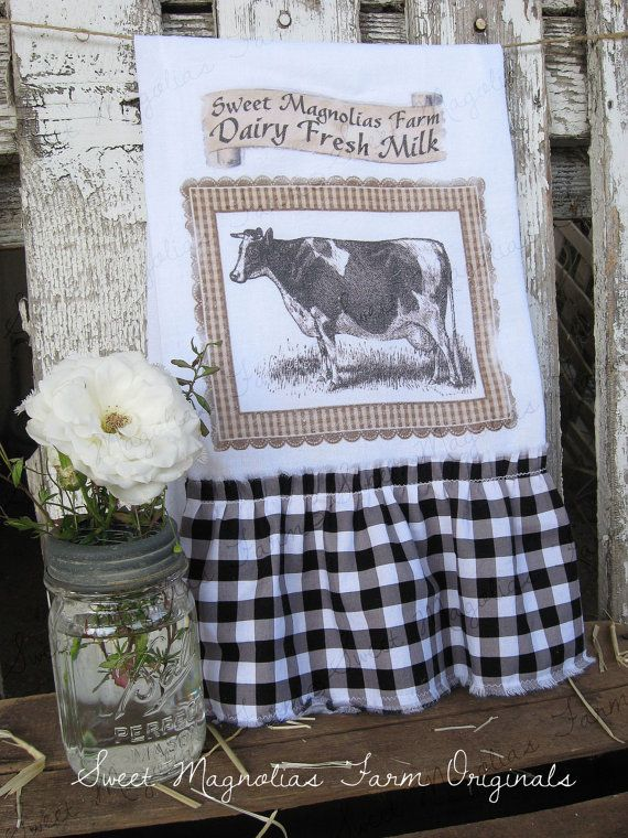 """Flour Sack Kitchen Towel Cow """"Dairy Fresh Milk"""" Farmhouse Style by SweetMagnoliasFarm, 16.00 sweet Magnolias Farm Design ©"""