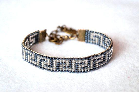 Greek key bracelet bead loom bracelet greek by Bracelicious