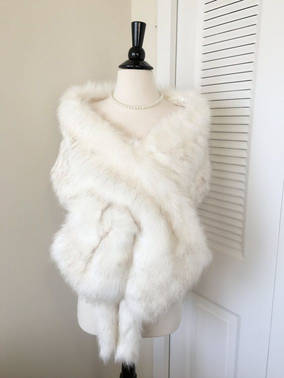 Ivory Faux Fur Wrap Ivory Fur Shawl Fur Coat Fur Shrug by AnyaLiu
