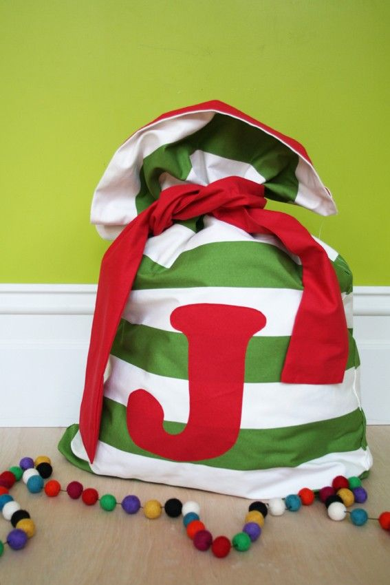 Christmas Santa SackSMALLbroad green stripe and red by MiniEnvy