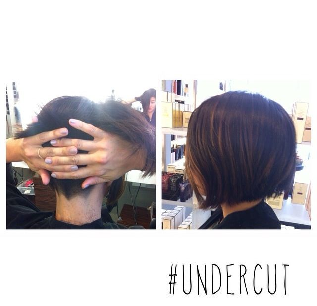 Undercut on thick Asian hair to keep the bob shape slimmer and add room to swish :) plus a little creative pizzazz!