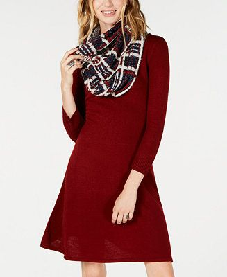 b6c52e43812 Sequin Hearts Juniors  Scarf A-Line Sweater Dress Juniors - Dresses - Macy s