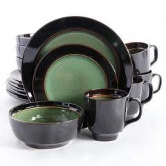 GE Bella Galleria 16 pc Green and Black Dinnerware Set
