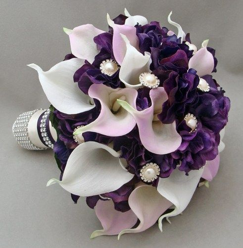 Purple And White Calla Lilies bouquets | Purple Lavender Real Touch Calla Lily Wedding Flower Package Lavender ...