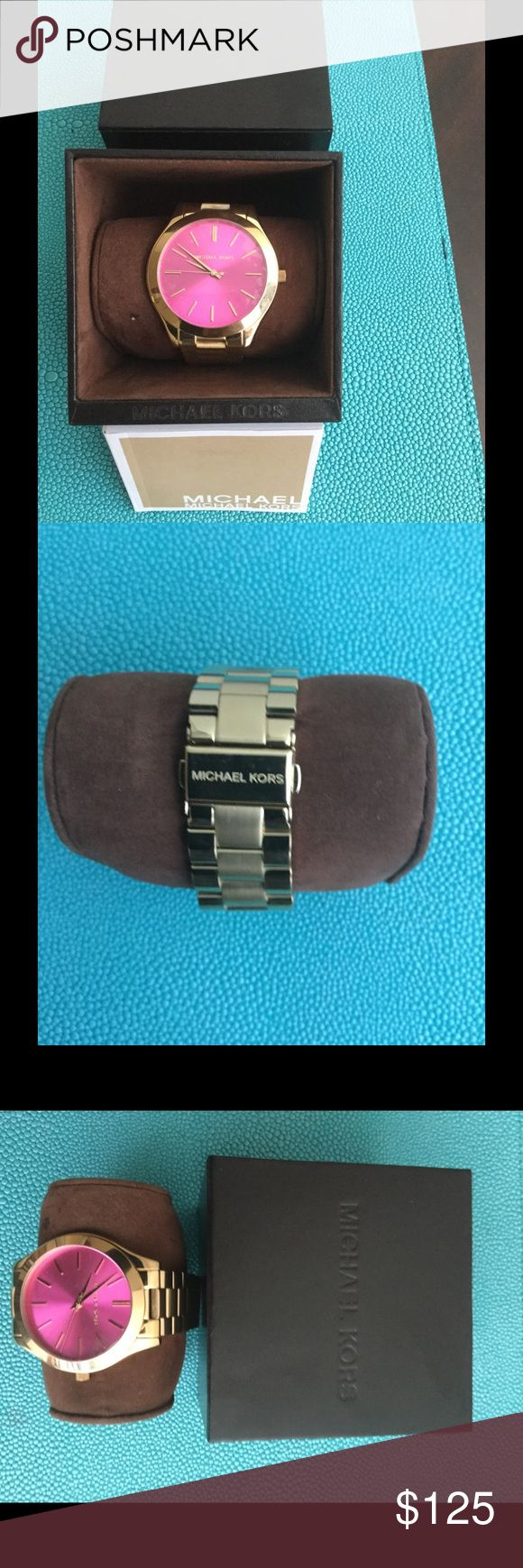 Michael Kors Watch Michael Kors big face watch - pink. Brand new. Never worn. Still in original package. Watch strap is easily adjusted to fit by removing links. Face has original plastic still on for protection. Michael Kors Accessories Watches
