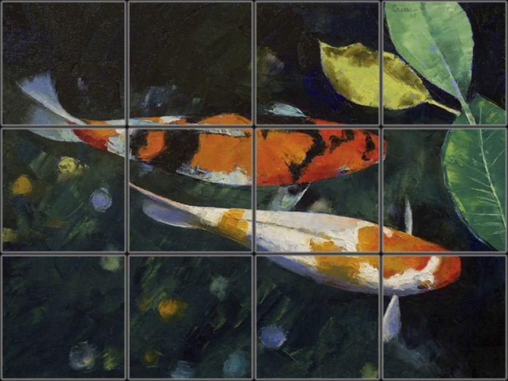 Koi fish pond tile mural pacifica tile art studio for Michael koi pond