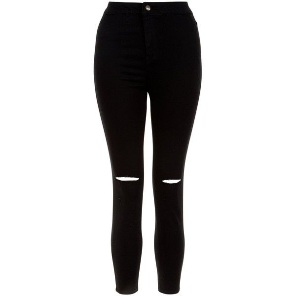 New Look Petite Black Ripped Knee High Waist Super Skinny Jeans ($30) ❤ liked on Polyvore featuring jeans, bottoms, pants, black, destroyed skinny jeans, torn skinny jeans, distressed jeans, high waisted jeans and high-waisted skinny jeans