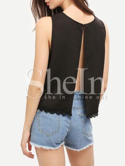 Blusa espalda abierta cuello redondo -negro-Spanish SheIn(Sheinside)