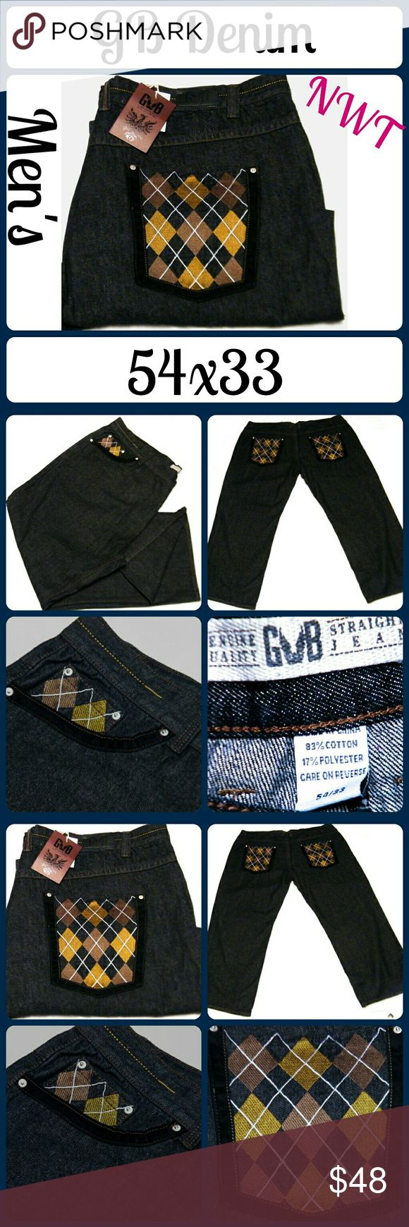 "NWT Mens GB Black Jeans Sz 54x33 So perfectly on trend! Brand new without tags.83% Cotton, 17% Polyester. Waist 54"", Inseam 33"" , Rise 14"" ... From a smoke-free, dog friendly home, No trades!! (J58) GB Denim Jeans Straight"