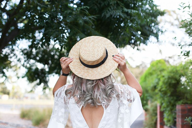 Silver balayage hair and a boat hat for Summer.   #summer #summerstyle #silverhair  kimleow.com