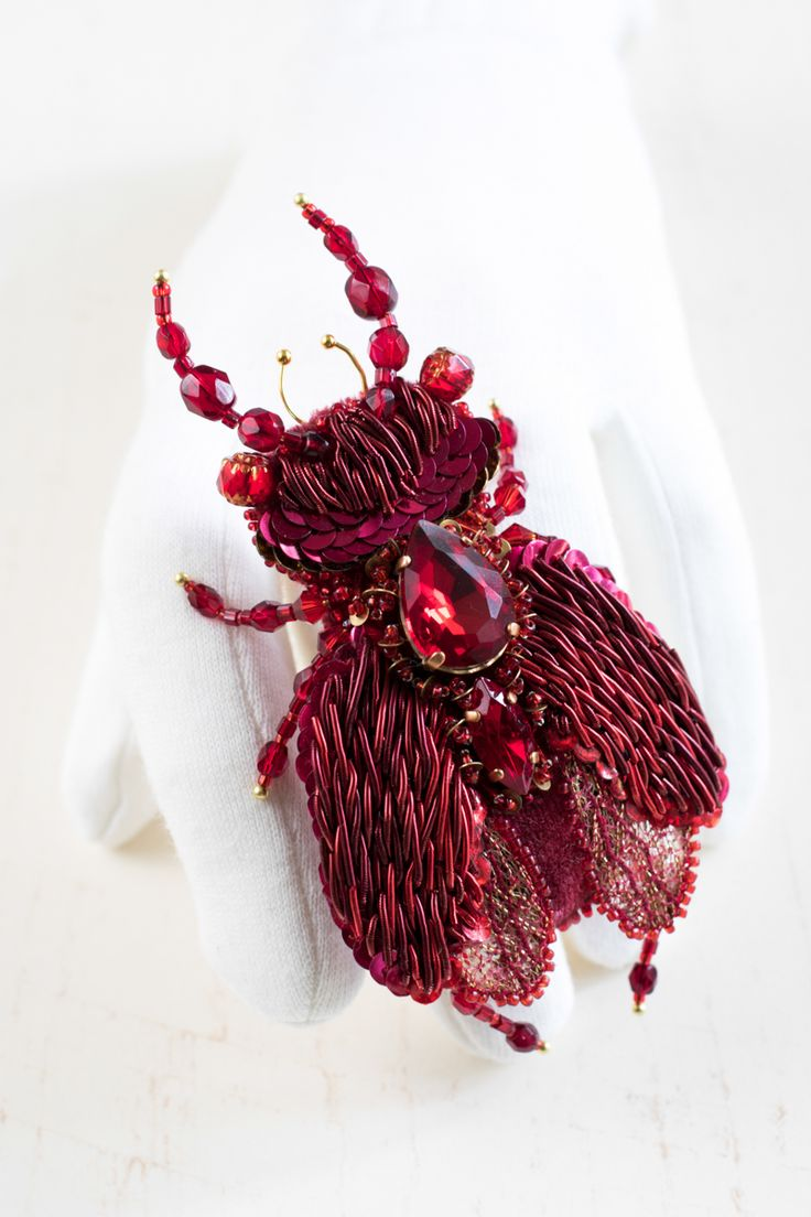 Hand embroidered Brooch ''Red Beetle - Michael'' by Eve Anders. Handmade Jewelry design.