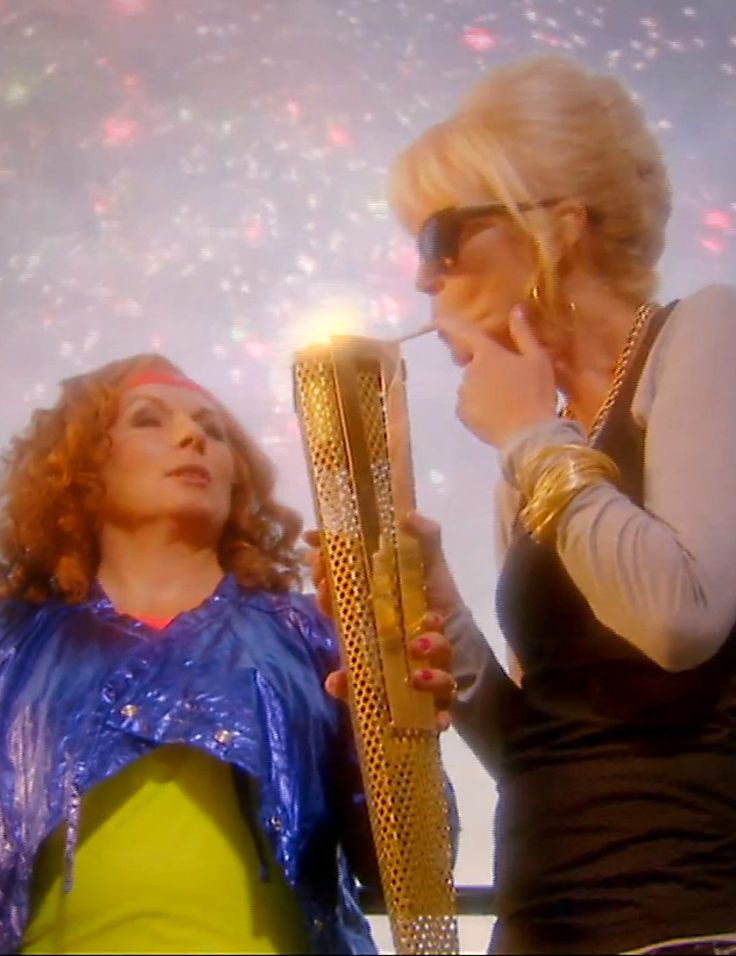ABFAB .. LOL.. lighting her smoke with the Olympic Torch ..  omg LMAO