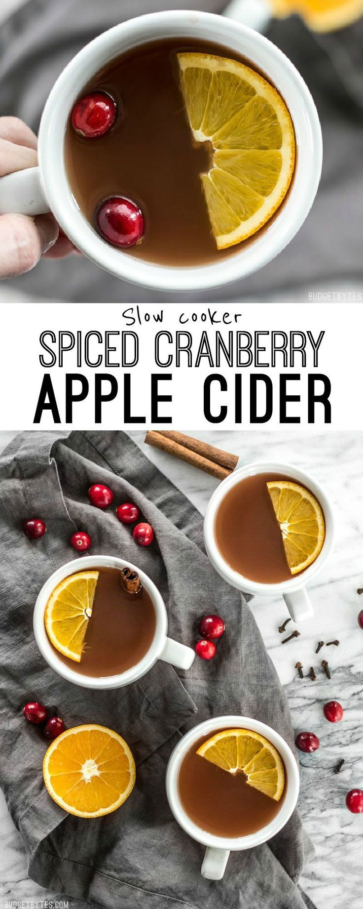 Slow Cooker Spiced Cranberry Apple Cider is an easy and festive drink for all your holiday party guests. @budgetbytes